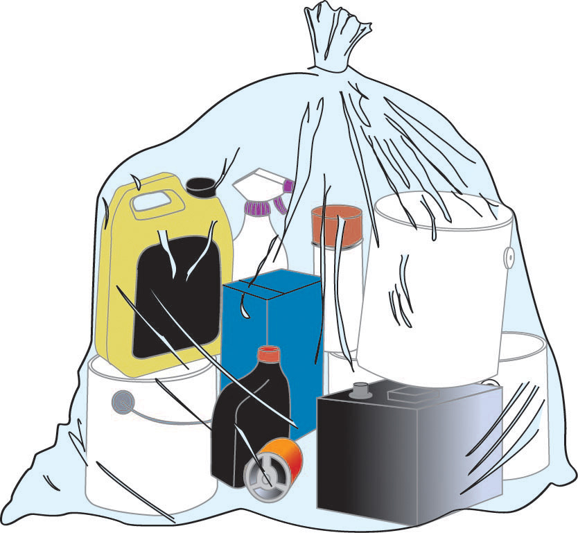 An illustration of a group of materials concealed in a plastic bag