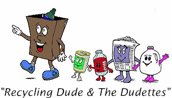 The recycling mascot Recycling Dude with his fellow friends the Dudettes